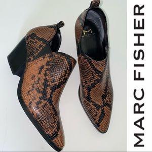 Marc Fisher Black/Brown Snakeskin Booties NWOB